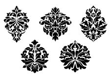 Floral and foliate damask elements Stock Photos