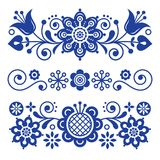 Floral folk art greeting card, design elements, Scandinavian style decor with flowers and leaves, retro blue floral compositions Stock Images