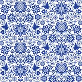 Floral folk art greeting card, design elements, Scandinavian style decor with flowers and leaves, retro blue floral compositions Stock Photo