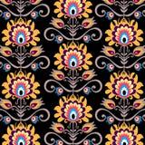 Floral folk black background. Polish folk art - seamless pattern vector illustration