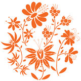 Floral folk pattern in circle containing set of orange- red color  flowers Stock Images
