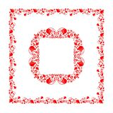 Floral folk red decorative frame with abstract pomegranate tree, fruit and flowers for book title, headers, greeting card, wedding