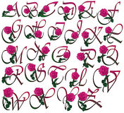 Floral FONT. Cute pink rose decorated colorful  font set with additional PNG  format with trandsparent background Stock Image