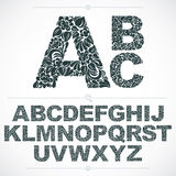Floral font, hand-drawn vector capital alphabet letters decorate Royalty Free Stock Image