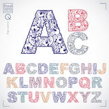 Floral font, hand-drawn vector capital alphabet letters decorate royalty free illustration