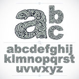 Floral font, hand-drawn vector lowercase alphabet letters decora Royalty Free Stock Images