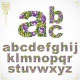 Floral font, hand-drawn vector lowercase alphabet letters decora Stock Photos