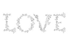 Floral font. Letters LOVE Royalty Free Stock Photography