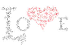 Floral font. Letters LOVE with heart Royalty Free Stock Photography