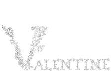 Floral font. Letters Valentine Stock Photos
