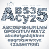 Floral font and numbers, hand-drawn vector alphabet letters deco Royalty Free Stock Photos