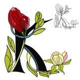 Floral font2. Letter K. Colorful illustration Stock Photography