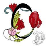 Floral font2. Letter O. Colorful illustration Stock Images