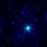 Floral Fractal Background With Dark Blue Color Stock Photos