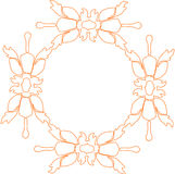 Floral frame. Yellow oval floral frame /border Stock Photo