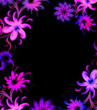 Floral frame. Purple floral frame on black Stock Photography