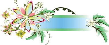 Floral frame. With flowers and leaves Stock Photos
