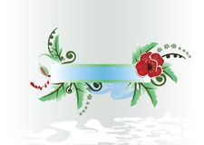 Floral frame. With red poppies Stock Photos