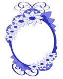 Isolated Floral frame with stylized flowers in blu. Oval floral frame decorated. Color: blue Royalty Free Stock Photography