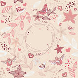 Floral frame. With birds, flowers, hearts Royalty Free Stock Photos