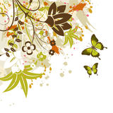 Floral frame. Grunge floral frame with butterfly, element for design,  illustration Royalty Free Stock Photography