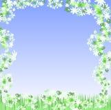 Floral Frame. Illustration of a floral frame on blue sky royalty free illustration