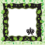 Floral frame. Frame with floral ornament in the green- black coors Stock Photography