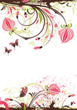 Floral frame. Grunge floral frame with butterfly, element for design,  illustration Stock Images
