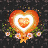 Floral frame. With shape heart, lily and gold decoration for Valentine's day Stock Photo