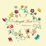 Floral frame. Vector floral elegant frame with butterflies royalty free illustration