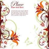 Floral frame. Grunge decorative floral frame with butterfly, element for design,  illustration Royalty Free Stock Images