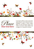 Floral frame. Grunge decorative floral frame with butterfly, element for design,  illustration Royalty Free Stock Image