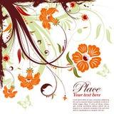 Floral frame. Grunge decorative floral frame with butterfly, element for design,  illustration Stock Photo