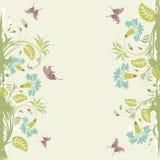 Floral frame. Grunge decorative floral frame with butterfly, element for design,  illustration Stock Images