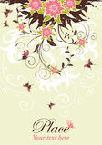 Floral frame. Grunge decorative floral frame with butterfly, element for design,  illustration Royalty Free Stock Photos