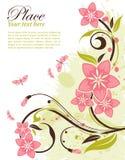 Floral frame. Grunge decorative floral frame with butterfly, element for design,  illustration Stock Photos