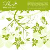 Floral frame. Grunge floral frame with butterfly, element for design,  illustration Stock Image