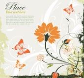 Floral frame. Grunge floral frame with butterfly, element for design,  illustration Stock Photos