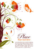 Floral frame. Grunge floral frame with butterfly, element for design,  illustration Stock Photo