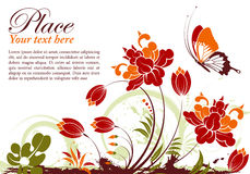 Floral frame. Grunge floral frame with butterfly, element for design, vector illustration Stock Photography