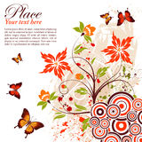Floral frame. Grunge floral frame with butterfly, element for design, vector illustration Royalty Free Stock Photos