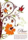 Floral frame. Grunge floral frame with butterfly, element for design, vector illustration Royalty Free Stock Image
