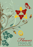 Floral Frame. Grunge Decorative Floral Frame with Butterfly in Retro Style, vector illustration Royalty Free Stock Photography