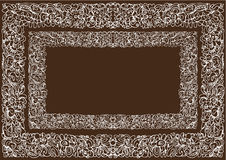 Floral frame. Border floral decorative pattern on a brown background Stock Image