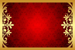 Floral frame. Vector gold and red floral frame Royalty Free Stock Photos