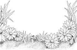 Floral frame. Ink painted floral frame (black and white vector illustration
