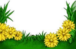 Floral frame. Ink painted floral frame (color vector illustration