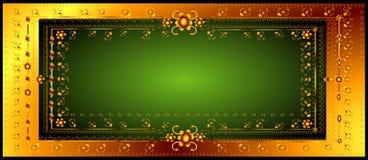 Floral frame. Golden floral frame with green background Royalty Free Stock Images