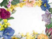 Floral frame. Different fowers in border frame Stock Photo
