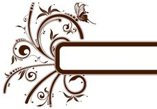 Floral frame. With butterfly, element for design, vector illustration Royalty Free Stock Photography